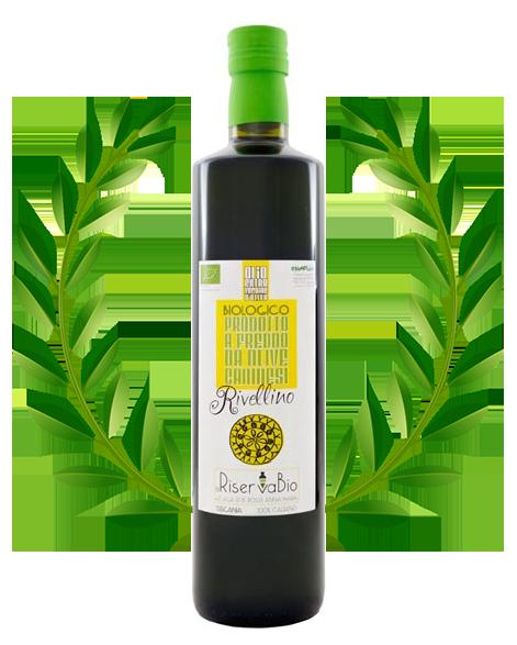 Bottiglia di Olio di Oliva Extra Vergine con un ramo di foglie di oliva della azienda la riserva bio