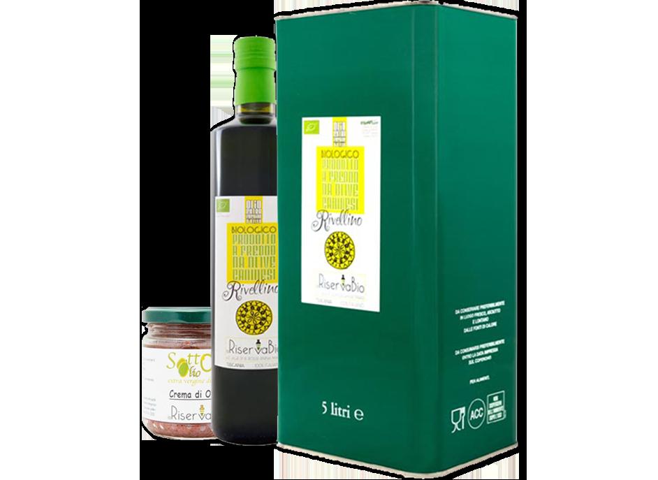 Olio di Oliva Extra Vergine in lattina e bottiglia insieme un vassoio di crema di carciofi